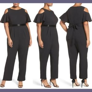 ELIZA J COLD SHOULDER BLACK BELTED JUMPSUIT